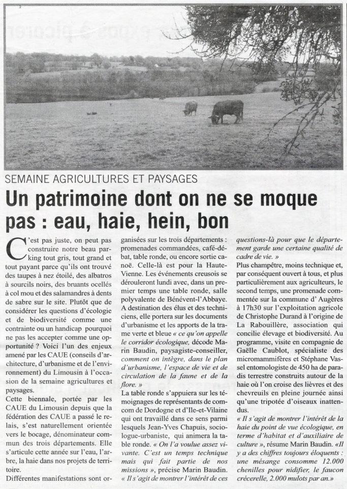 Article de Samuel Guillon paru dans L'Écho 11 Mai 2017