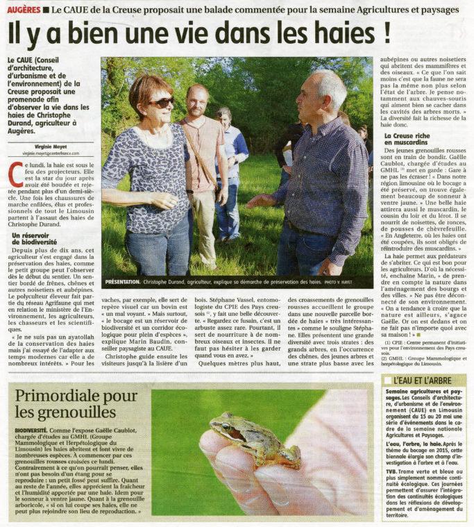 Article de Virginie Mayet paru dans La Montagne 17 Mai 2017