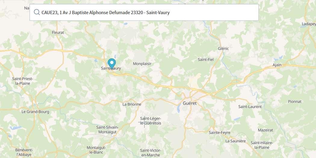 Plan d'accès au CAUE de la Creuse à Saint-Vaury